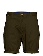 Classic cotton/elastane chino short - MILITARY