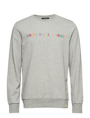 Classic crewneck sweat with Scotch logo embroidery - GREY MELANGE