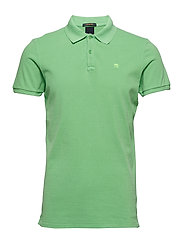 Classic garment-dyed pique polo - SURF GREEN