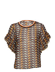 Mixed print top with ruffled sleeve - COMBO A