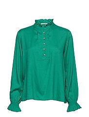 Tunic top with ruffled collar - PALM GREEN