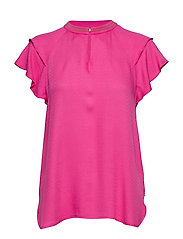 Rayon top with sporty rib and ruffle sleeves - CANDY PINK