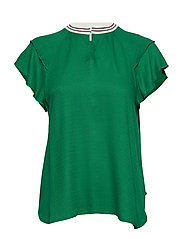Rayon top with sporty rib and ruffle sleeves - PALM GREEN
