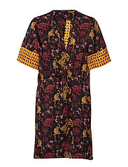 Mixed print dress with waist drawcord - COMBO A