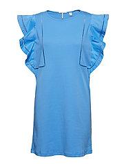 Jersey dress with woven ruffles - ISLAND BLUE