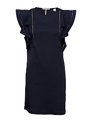 Jersey dress with woven ruffles - NIGHT