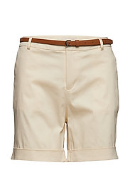 Longer length mercerised chino shorts, sold with a belt - ANTIQUE WHITE