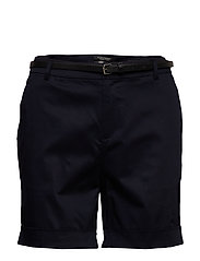 Longer length mercerised chino shorts, sold with a belt - NIGHT