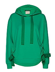 Hoody with gathered tie detail - PARROT GREEN