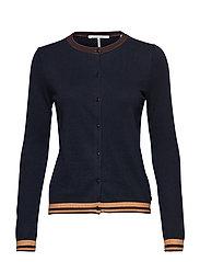 Basic knit cardigan with striped rib details - NIGHT