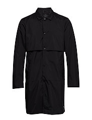 Ams Blauw clean trenchcoat in coated quality - BLACK