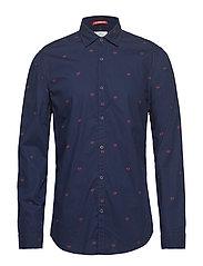 Slim fit crispy L/S shirt with prints - COMBO C
