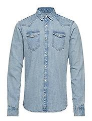Ams Blauw denim shirt in seasonal washes - BLEACHED INDIGO
