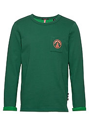 Crew neck sweat with chest pocket and contrast loops - GREEN DREAM