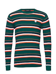 Longsleeve tee in 3D waffle with deck chair stripes - COMBO B