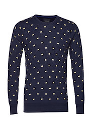 Blauw Allover Printed Crew Neck Pull Stickad Tröja M. Rund Krage Blå SCOTCH & SODA
