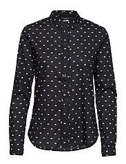 Classic Long Sleeve Shirt With All Over Print Langermet Skjorte Svart SCOTCH & SODA