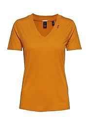 Feminine tee with deep V neck in linen mix quality - BURNED ORANGE
