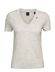 Feminine tee with deep V neck in linen mix quality - GREY MELANGE