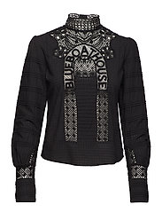 Woven top with special lace patch - BLACK