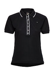 Polo with contrast details - BLACK