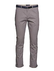 Ams Blauw Stuart chino with belt in stretch peached quality - GREY