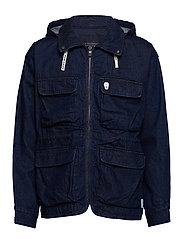 Oversized denim parka jacket with hood - DENIM BLUE