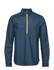 Lot 22 popover denim worker shirt with contrast zipper - INDIGO