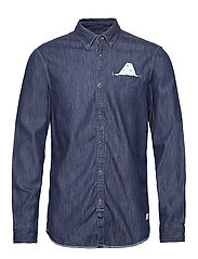 Ams Blauw regular fit denim shirt with pochet pocket detail - INDIGO BLUE