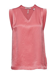 Pleated sleeveless top in viscose quality - CADILLAC PINK