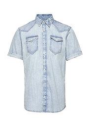Ams Blauw short sleeve denim western shirt with seasonal was - BLEACHED INDIGO