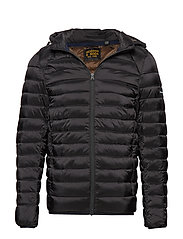 Classic hooded light weight padded jacket - BLACK