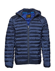 Classic hooded light weight padded jacket - NAVY