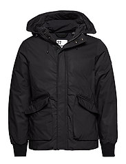 Short hooded jacket with inside quilting - BLACK
