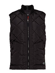 Quilted bodywarmer with bomber collar - BLACK