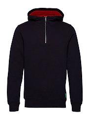Classic half-zip hoody with contrast inside - NIGHT