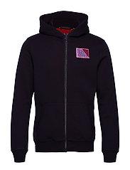 Classic zip-through hoody with chest badge - NIGHT