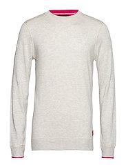 Crewneck pull in sweatshirt styling with contrast detail - LIGHT GREY MELANGE