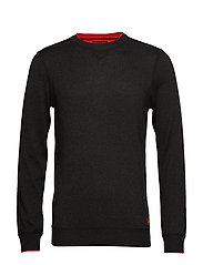 Crewneck pull in sweatshirt styling with contrast detail - MILITARY MELANGE