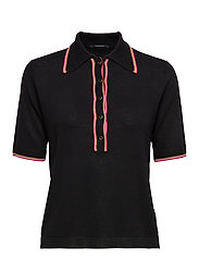 Drapy knitted polo with sporty ribs - BLACK
