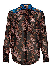 Mixed print shirt with tie detail - COMBO F