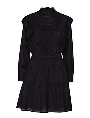 Dress with ruffles and ladder details - BLACK