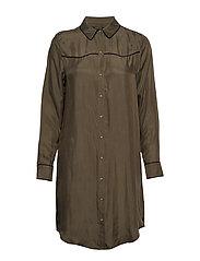 Shirt dress in cupro viscose blend - MILITARY