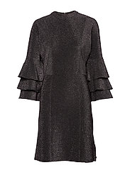Ruffled dress with lurex - BLACK