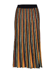 Pleated midi length skirt in multicolour lurex stripe - COMBO W