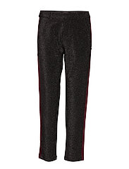 Tapered lurex pants with velvet side panel - BLACK