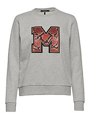 Crewneck sweat with badge - GREY MELANGE