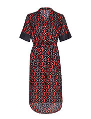 Allover printed dress in shiny quality - COMBO B