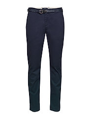 Ams Blauw stretch Stuart chino with belt - NIGHT