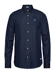 Long sleeve indigo shirt with pochet pocket - COMBO A